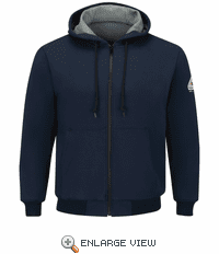 SEZ4NV Navy Full Zip-Front Hooded Waffle-Lined Sweatshirt - Cotton/Spandex
