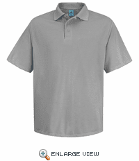 SK20AH Men's Ash Short Sleeve Spun Polyester Pocketless Polo