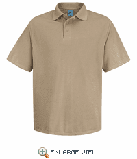 SK20KH Men's Khaki Short Sleeve Spun Polyester Pocketless Polo