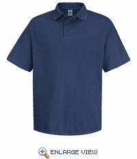 SK20NV Men's Navy Short Sleeve Spun Polyester Pocketless Polo