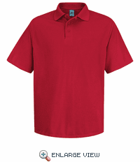SK20RD Men's Red Short Sleeve Spun Polyester Pocketless Polo