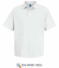 SK20WH Men's White Short Sleeve Spun Polyester Pocketless Polo
