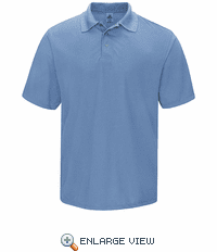 SK24MB Men's Medium Blue Short Sleeve Spun Polyester Gripper-Front Polo