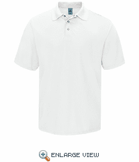 SK24WH Men's White Short Sleeve Spun Polyester Gripper-Front Polo
