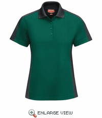 SK53HC Women's Short Sleeve Performance Knit® Hunter Green/Charcaol Polo