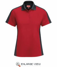 SK53RC Women's Short Sleeve Performance Knit® Red/Charcaol Polo