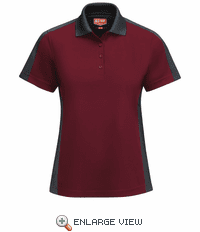 SK53UC Women's Short Sleeve Performance Knit® Burgundy/Charcoal Polo