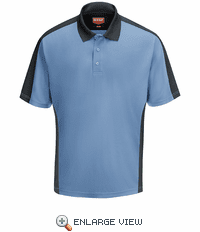 SK54MC Men's Medium Blue/Charcaol Short Sleeve Performance Knit® Two-Tone Polo