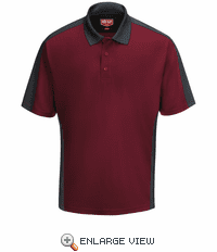 SK54UC Men's Burgundy/Charcoal Short Sleeve Performance Knit® Two-Tone Polo