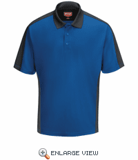 SK54YC Men's Royal Blue/Charcaol Short Sleeve Performance Knit® Two-Tone Polo