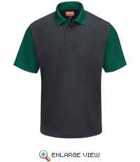 SK56CH Men's Short Sleeve Charcoal/Hunter Green Performance Knit® Color-Block Polo