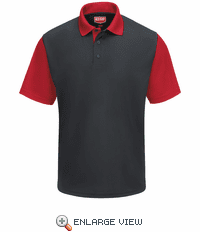 SK56CR Men's Short Sleeve Charcoal/Red Performance Knit® Color-Block Polo