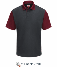 SK56CU Men's Short Sleeve Charcoal/Burgundy Performance Knit® Color-Block Polo