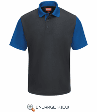 SK56CY Men's Short Sleeve Charcoal/Royal Blue Performance Knit® Color-Block Polo