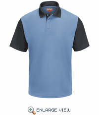 SK56MC Men's Short Sleeve Medium Blue/Charcoal Performance Knit® Color-Block Polo