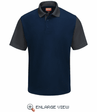 SK56NC Men's Short Sleeve Navy/Charcoal Performance Knit® Color-Block Polo