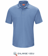SK74MB  Men's Medium Blue Short Sleeve Performance Knit® Gripper-Front Polo