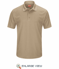 SK96KH Men's Khaki Short Sleeve Performance Knit® Pocketless Core Polo