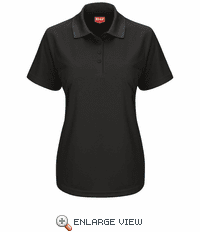 SK97BK Women's Short Sleeve Black Performance Knit® Pocketless Core Polo