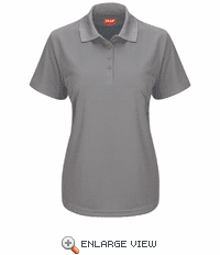 SK97GY Women's Short Sleeve Grey Performance Knit® Pocketless Core Polo