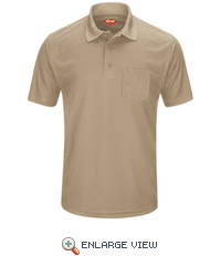 SK98KH Men's Khaki Short Sleeve Performance Knit® Pocket Polo