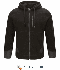 SMH8BK Men's Black Full Zip Front Hooded Fleece Jacket