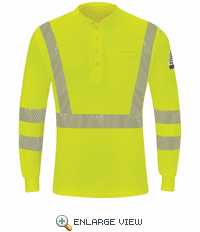 SML4HV Hi-Visibility Yellow/Green Lightweight Long Sleeve Henley