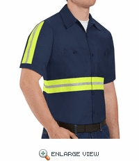 SP24EN Short Sleeve Enhanced Visibility Industrial Navy Work Shirt