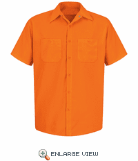 SS24OR Short Sleeve Orange Enhanced Visibility Work Shirt