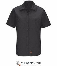 SX21BK Women's Black Short Sleeve Work Shirt with MIMIX™