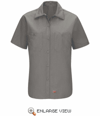 SX21GY Women's Grey Short Sleeve Work Shirt with MIMIX™