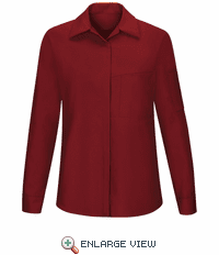SY31FC Women's Long Sleeve Fireball Red/Charcoal Mesh Performance Plus Shop Shirt with OilBlok Technology