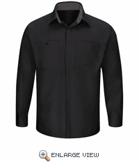 SY32BC Men's Long Sleeve Black/Charcoal Performance Plus Shop Shirt with OilBlok Technology