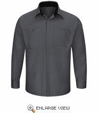 SY32CB Men's Long Sleeve Charcoal/Black Performance Plus Shop Shirt with OilBlok Technology