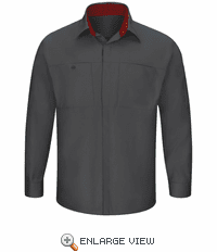 SY32CF Men's Long Sleeve Charcoal/Fireball Red Performance Plus Shop Shirt with OilBlok Technology