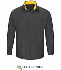 SY32CY Men's Long Sleeve Charcoal/Yellow Performance Plus Shop Shirt with OilBlok Technology