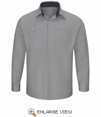 SY32GC Men's Long Sleeve Grey/Charcoal Performance Plus Shop Shirt with OilBlok Technology