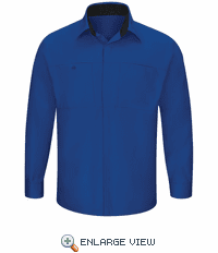 SY32RB Men's Long Sleeve Royal Blue/Black Performance Plus Shop Shirt with OilBlok Technology