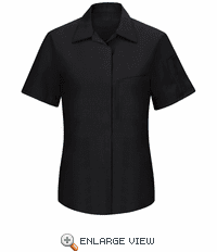 SY41BC Women's Short Sleeve Black/Charcoal Mesh Performance Plus Shop Shirt with OilBlok Technology