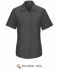 SY41CY Women's Short Sleeve Charcoal/Yellow Mesh Performance Plus Shop Shirt with OilBlok Technology