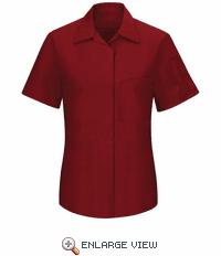 SY41FC Women's Short Sleeve Fireball Red/Charcoal Mesh Performance Plus Shop Shirt with OilBlok Technology