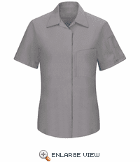 SY41GC Women's Short Sleeve Grey/Charcoal Mesh Performance Plus Shop Shirt with OilBlok Technology