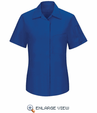 SY41RB Women's Short Sleeve Royal Blue/Black Mesh Performance Plus Shop Shirt with OilBlok Technology