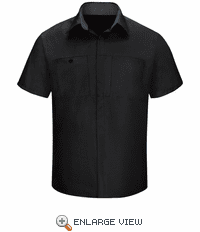 SY42BC Men's Short Sleeve Black/Charcoal Mesh Performance Plus Shop Shirt with OilBlok Technology