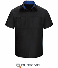 SY42BR Men's Short Sleeve Black/Royal Blue Mesh Performance Plus Shop Shirt with OilBlok Technology