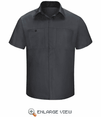 SY42CB Men's Short Sleeve Charcaol/Black Mesh Performance Plus Shop Shirt with OilBlok Technology
