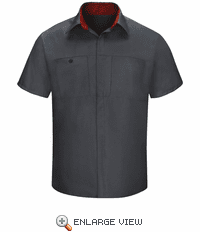 SY42CF Men's Short Sleeve Charcaol/Fireball Red Mesh Performance Plus Shop Shirt with OilBlok Technology