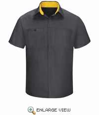 SY42CY Men's Short Sleeve Charcaol/Yellow Mesh Performance Plus Shop Shirt with OilBlok Technology