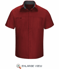 SY42FC Men's Short Sleeve Fireball Red/Charcaol Mesh Performance Plus Shop Shirt with OilBlok Technology