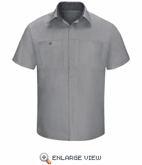 SY42GC Men's Short Sleeve Light Grey/Charcaol Mesh Performance Plus Shop Shirt with OilBlok Technology